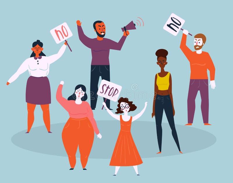 Las mujeres y los hombres protestan con la parada y ningunas muestras libre illustration