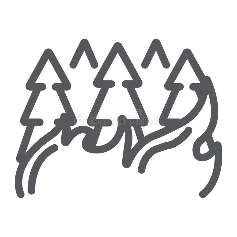 Las na ikonie, oparzenie i katastrofie pożarniczej linii, płonący drzewa podpisuje, wektorowe grafika, liniowy wzór na białym tle royalty ilustracja