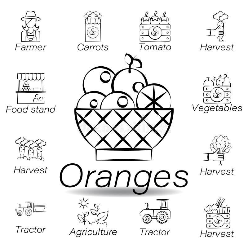 Las naranjas dan el icono del drenaje Elemento de cultivar iconos del ejemplo Las muestras y los s?mbolos se pueden utilizar para ilustración del vector