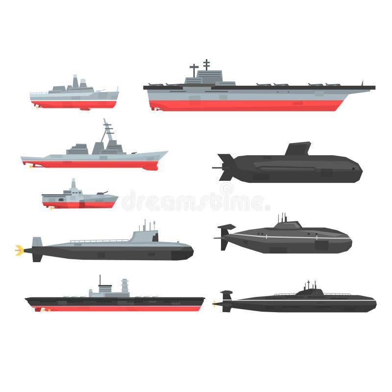 Las naves de combate navales fijaron, los barcos militares, naves, ejemplos submarinos del vector ilustración del vector