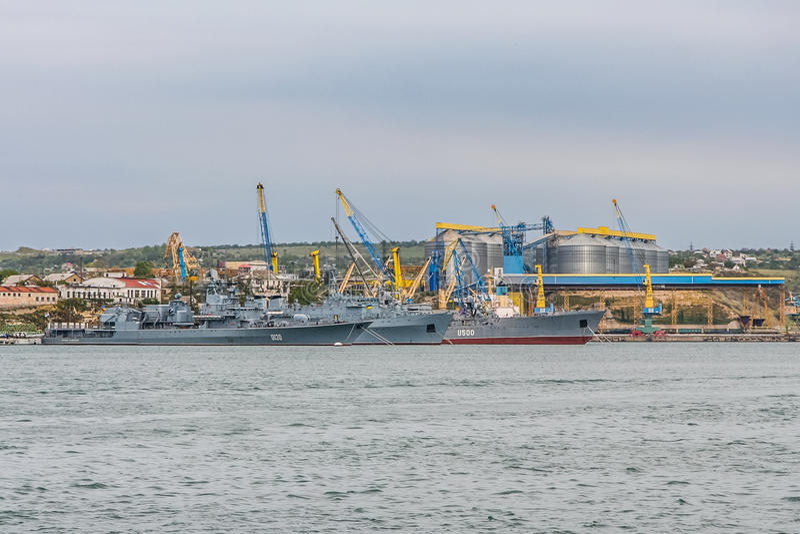 Las naves de la marina de guerra ucraniana foto de archivo