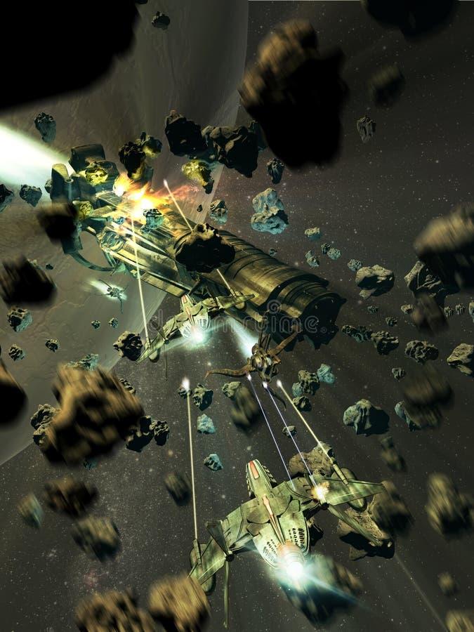 Las naves espaciales luchan en la correa de asteroides stock de ilustración
