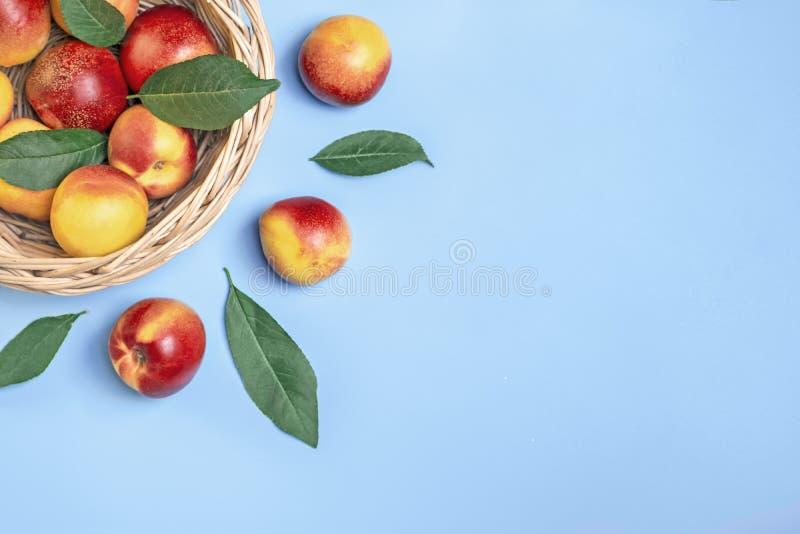Las nectarinas cosechadas frescas, placa, dejan mentiras redondas en el melocotón natural del fondo de las verduras de la querati fotos de archivo
