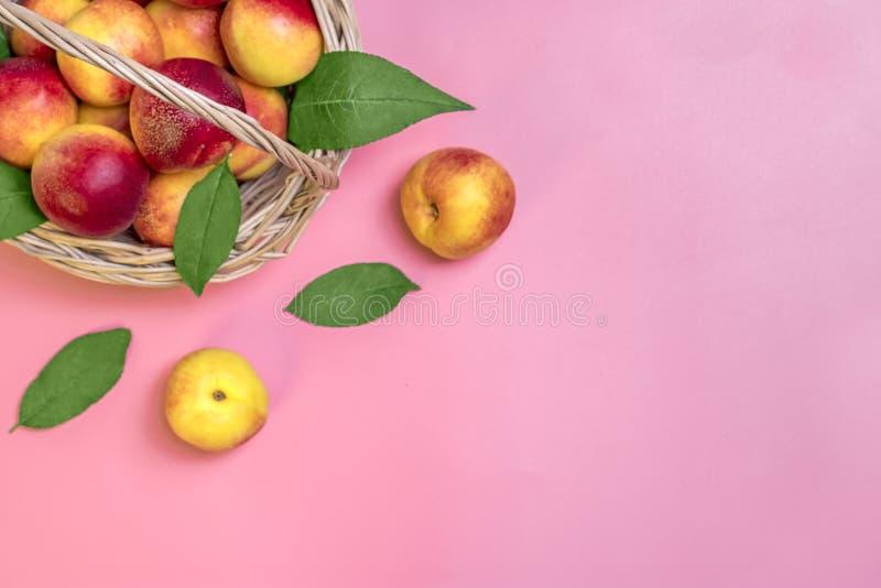 Las nectarinas cosechadas frescas, placa, dejan mentiras redondas en el melocotón natural del fondo de las verduras de la querati imagen de archivo