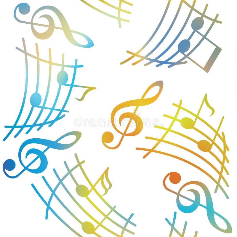 Las notas con los elementos de la música como fondo musical diseñan Modelo inconsútil stock de ilustración