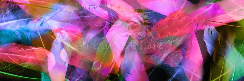 Las notas de los sonidos cubren en plumas transparentes imagen de archivo libre de regalías