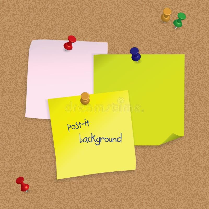 Las notas de post-it con los pasadores 3D en corcho suben stock de ilustración