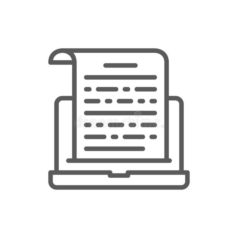 Las notas sobre el ordenador portátil, presentación, entradas de texto alinean el icono stock de ilustración