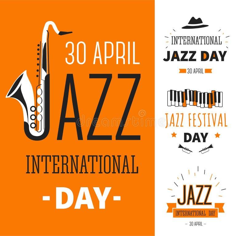 Las notas y los instrumentos musicales aislaron vector internacional del día del festival de jazz de los iconos libre illustration