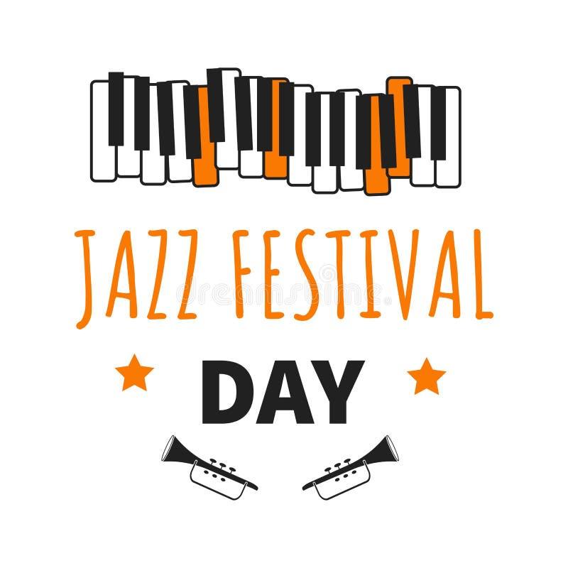Las notas y los instrumentos musicales aislaron vector internacional del día del festival de jazz de los iconos stock de ilustración