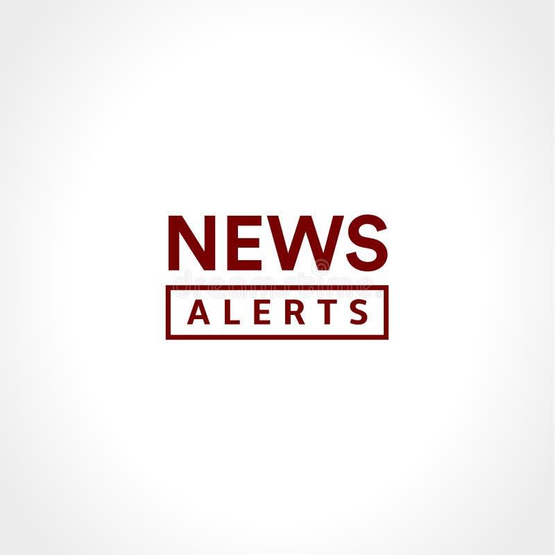 Las noticias alertan el icono simple del texto, estilo minimalistic Logotipo de las noticias de última hora, elemento del diseño  stock de ilustración
