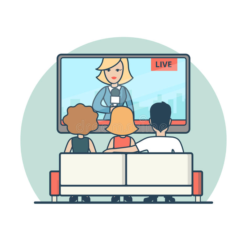 Las noticias de observación de la gente plana linear en vector de la TV viven ilustración del vector