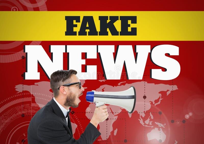 Las noticias falsas mandan un SMS y sirven a grito en megáfono delante del mapa del mundo fotografía de archivo libre de regalías
