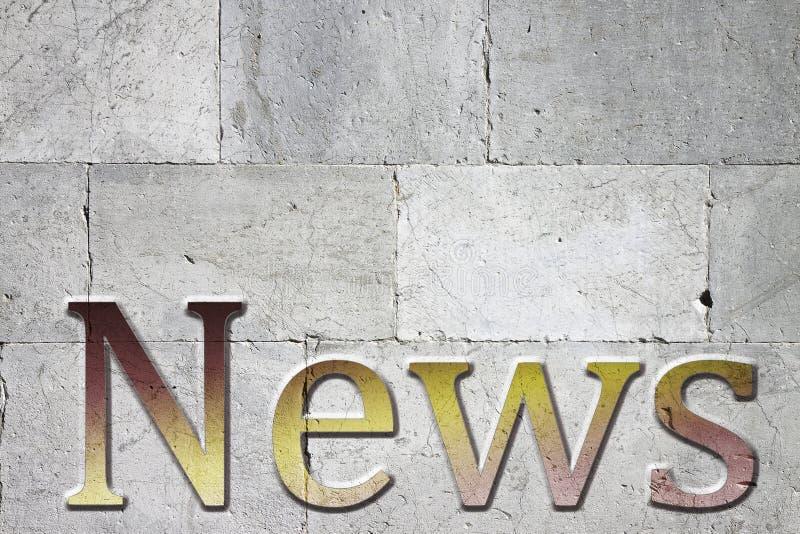Las noticias tallaron en la pared de piedra blanca - imagen del concepto con el espacio superior para el texto foto de archivo libre de regalías