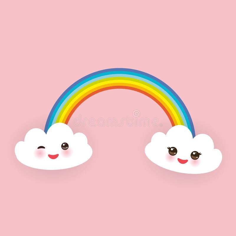 Las nubes blancas divertidas de Kawaii fijaron, bozal con las mejillas rosadas y los ojos del guiño, arco iris en fondo rosa clar ilustración del vector
