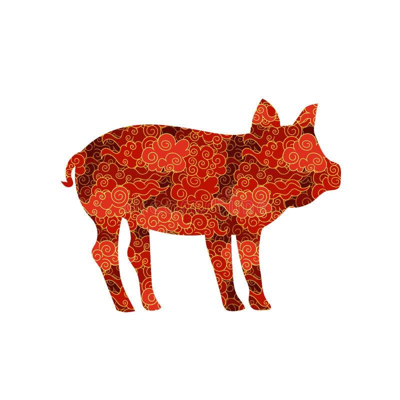 Las nubes chinas del vector repitieron cerdo, ejemplo aislado, símbolo 2019 del Año Nuevo stock de ilustración