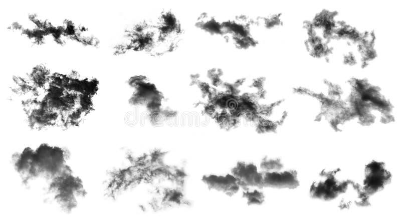 Las nubes determinadas aisladas en el fondo blanco, humo texturizado, cepillan las nubes, resumen negro foto de archivo