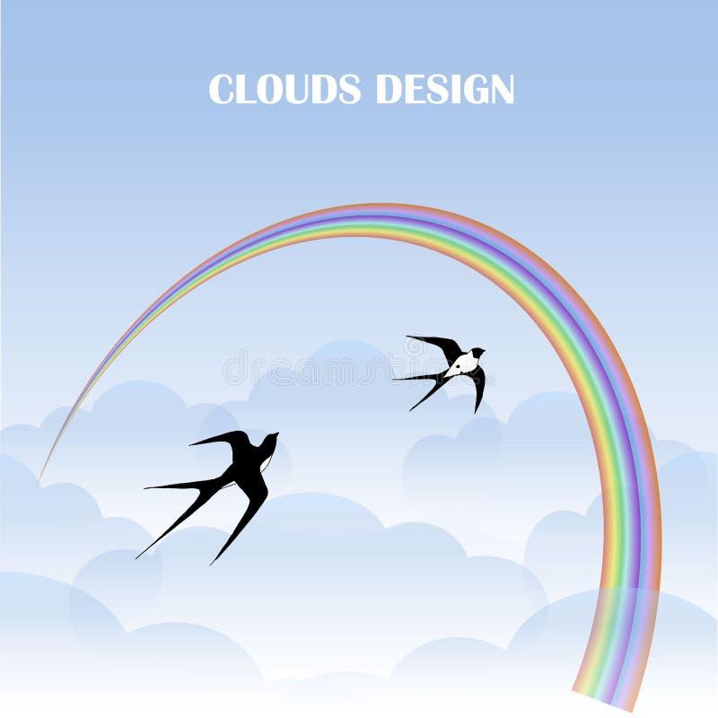 Las nubes diseñan el fondo, arco iris colorido, volando la acción de los tragos ilustración del vector