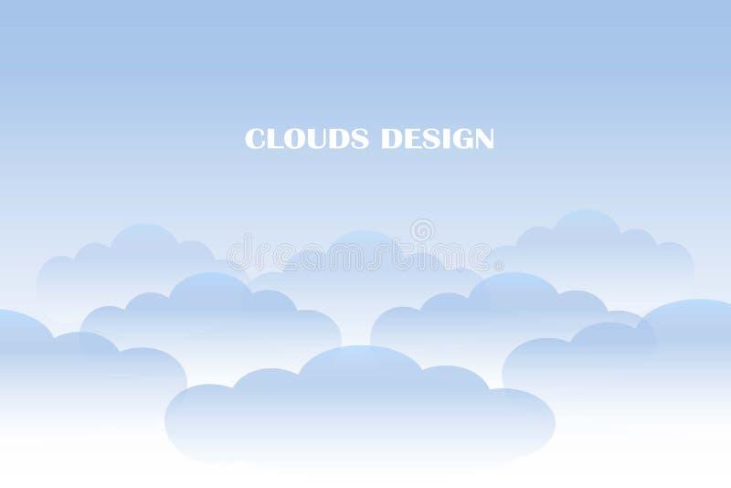 Las nubes diseñan el fondo, nubes azules de la pendiente en el cielo azul stock de ilustración