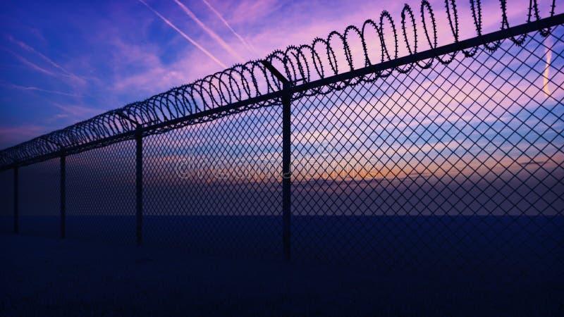 Las nubes y una puesta del sol se pueden ver a trav?s la cerca de la prisi?n del metal con alambre de p?as representaci?n 3d fotos de archivo libres de regalías