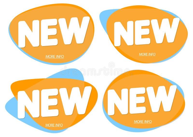 Las nuevas etiquetas fijadas, banderas de la burbuja diseñan la plantilla, iconos del app de la colección, ejemplo del vector libre illustration