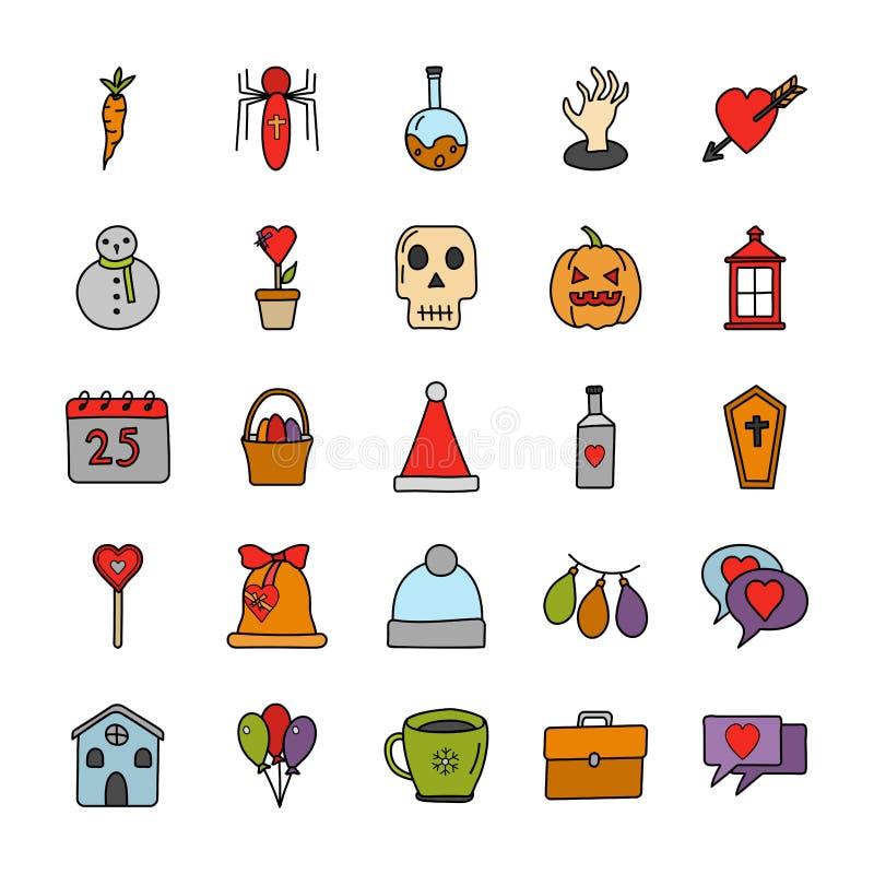 Las ocasiones y los festivales garabatean iconos embalan stock de ilustración