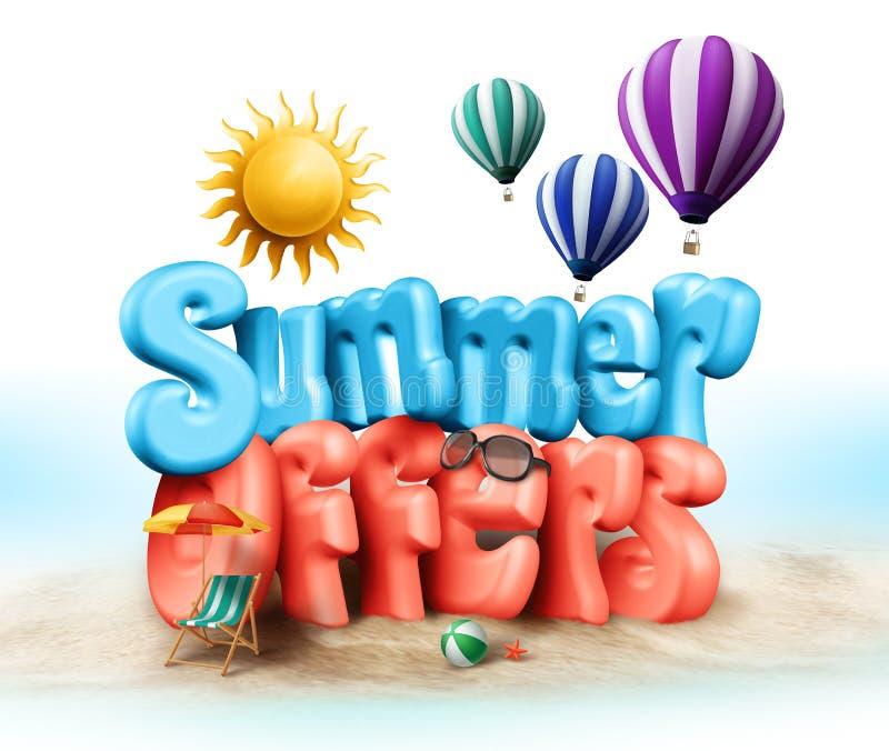 Las ofertas del verano diseñan el ejemplo en gráficos rendidos 3D ilustración del vector
