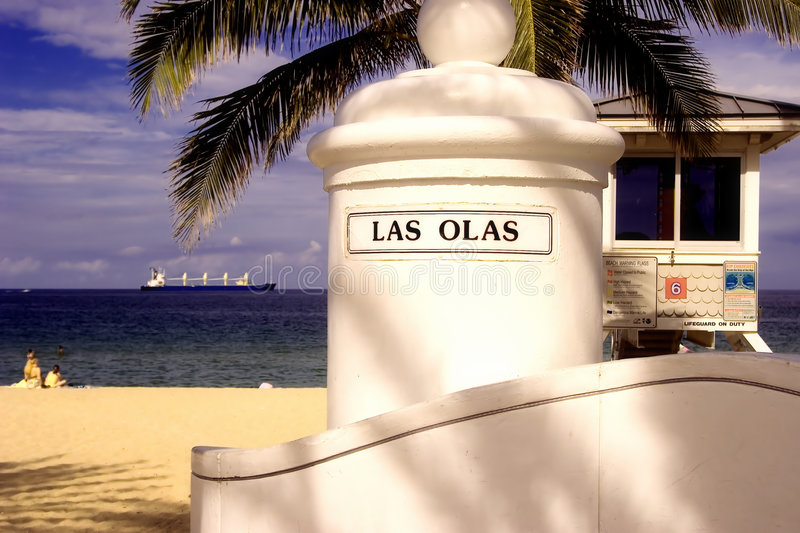 Las Olas Beach. At A1A Ft. Lauderdale royalty free stock photography