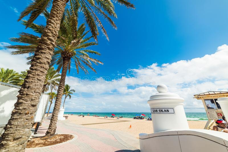 Las Olas beach entrance in Fort Lauderdale royalty free stock photography