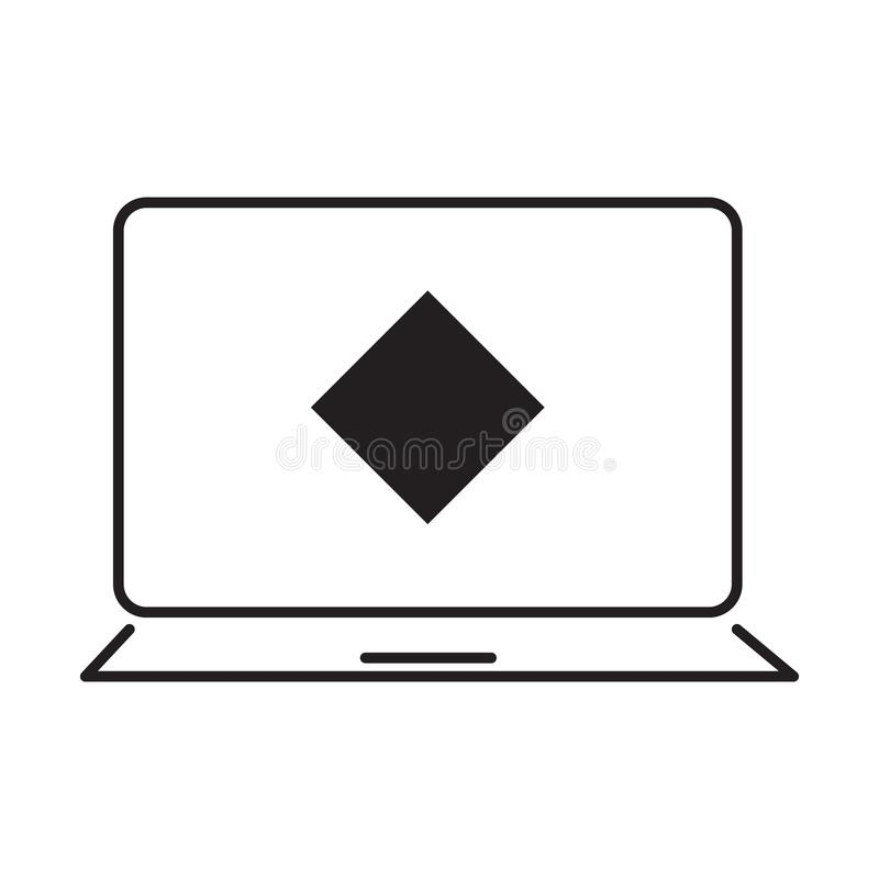 Las ondas acuñan y el ejemplo desing del vector del icono del ordenador portátil libre illustration