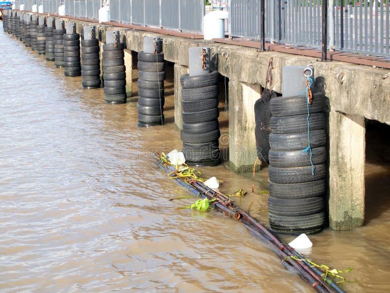 Las ondas del río de la barrera hacen de los neumáticos fotos de archivo libres de regalías