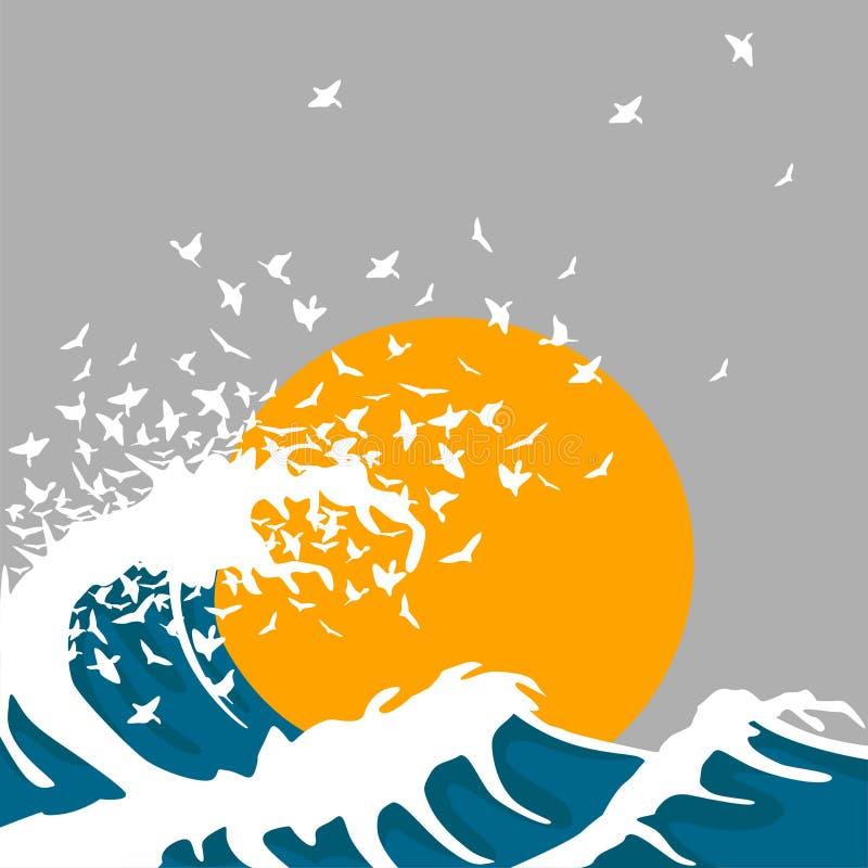 Las ondas enormes dan vuelta en pájaros Plantilla para el cartel del concierto libre illustration