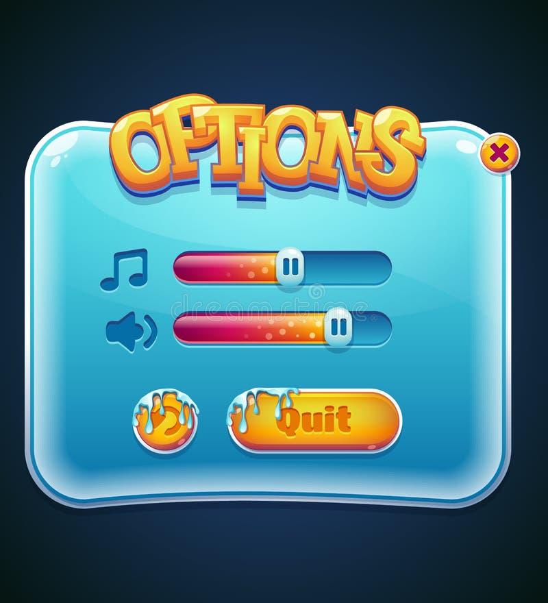 Las opciones del juego seleccionan la ventana para el ordenador app libre illustration