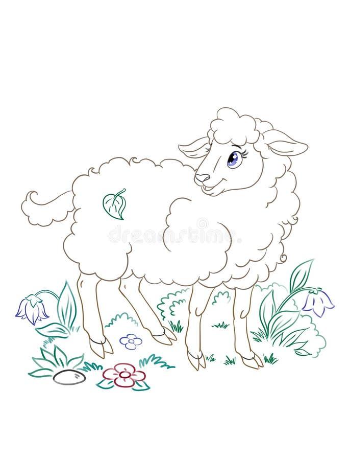 Las ovejas bonitas figuran el arte para un libro de colorear stock de ilustración