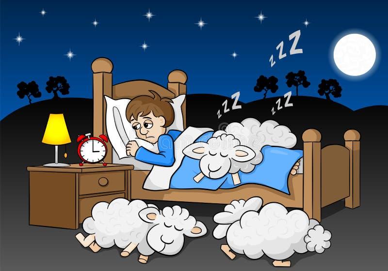 Las ovejas caen dormido en la cama de un hombre insomne stock de ilustración
