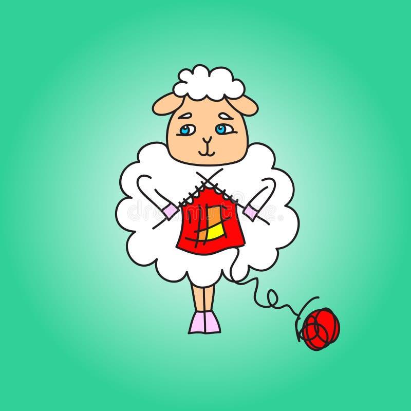 Las ovejas hacen punto una bufanda roja ilustración del vector