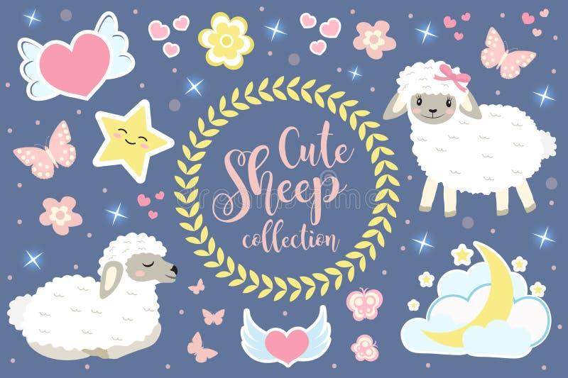 Las ovejas lindas fijaron objetos Elementos del diseño de la colección con los corderos, corazones, estrellas, flores preciosas,  libre illustration