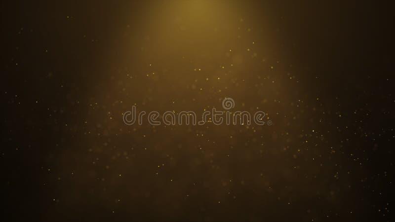 Las párticulas de polvo brillantes del oro del fondo abstracto popular protagonizan chispas agitan la animación 3d stock de ilustración