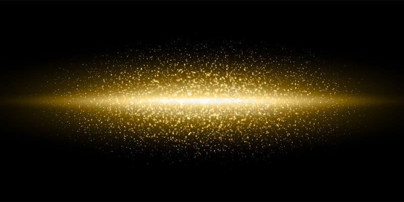 Las párticulas de polvo de destello ligeras del brillo del oro estallaron el fondo, línea de oro del resplandor de las llamaradas ilustración del vector