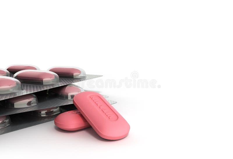 Las píldoras 3d de la vitamina rinden en el fondo blanco ilustración del vector