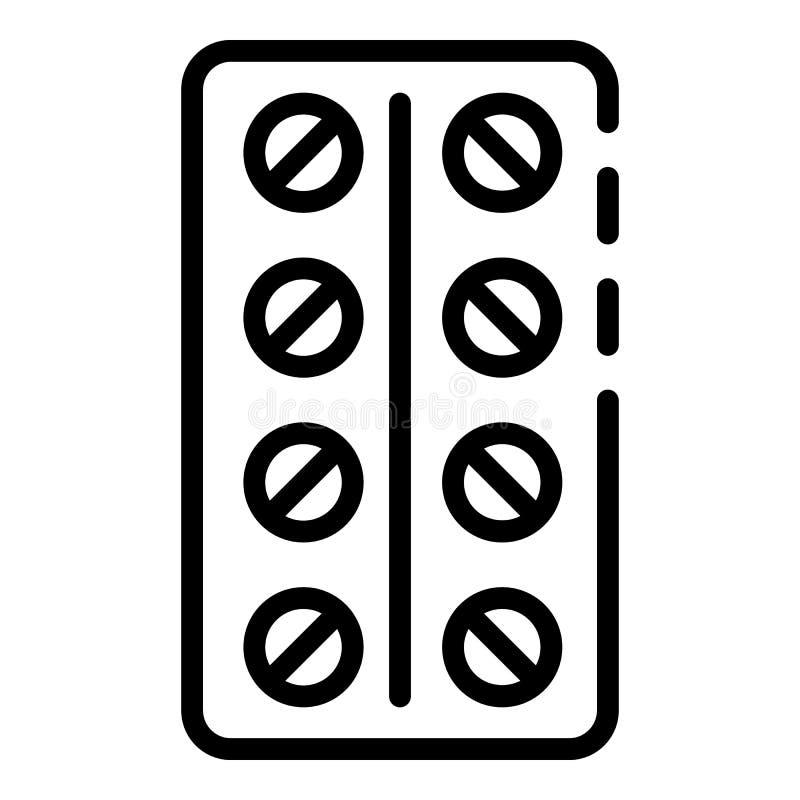Las píldoras embalan el icono, estilo del esquema ilustración del vector
