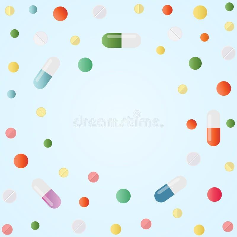 Las píldoras farmacéuticas clasificadas de la medicina, drogas, tabletas, encapsulan las vitaminas libre illustration