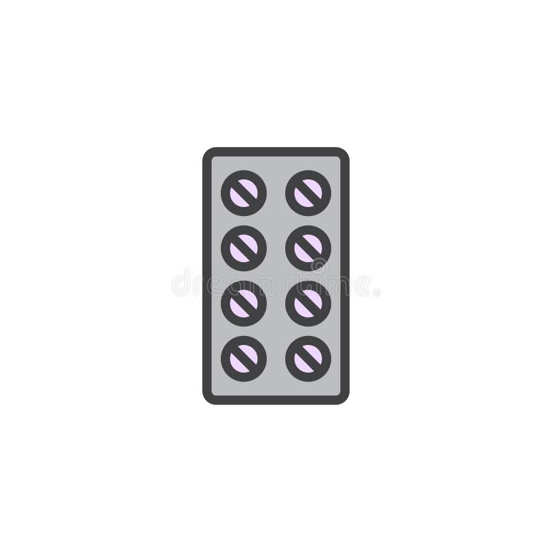 Las píldoras pelan el icono llenado del esquema libre illustration
