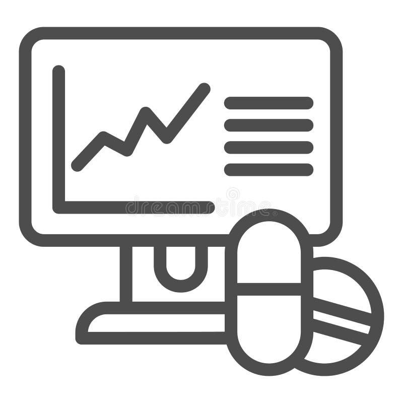 Las píldoras prise la línea icono de la subida Ejemplo en línea del vector de la receta de las drogas aislado en blanco Esquema d ilustración del vector