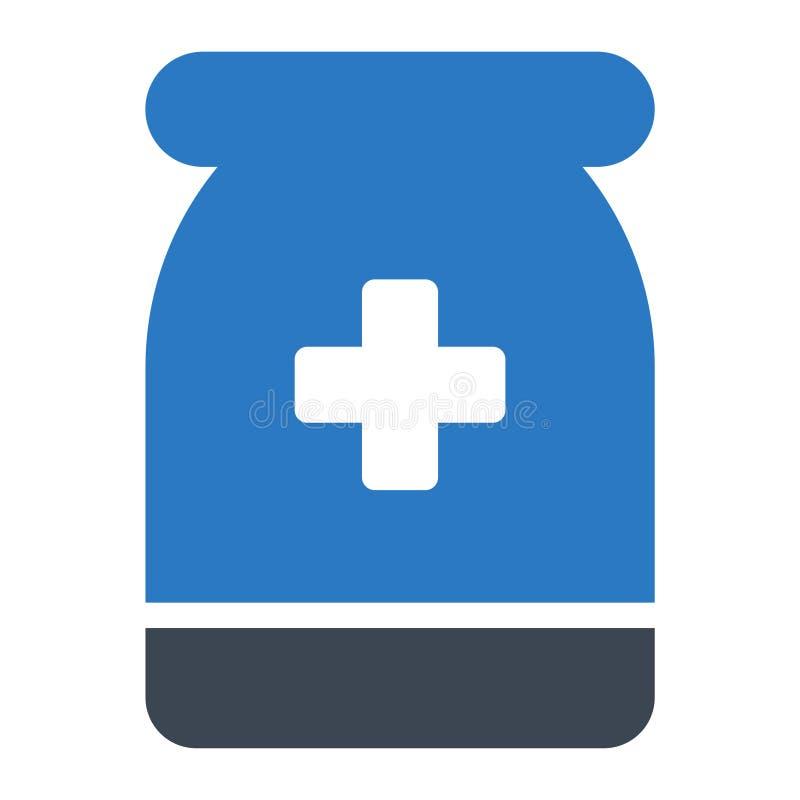 Las píldoras sacuden el icono plano del color del glyph stock de ilustración