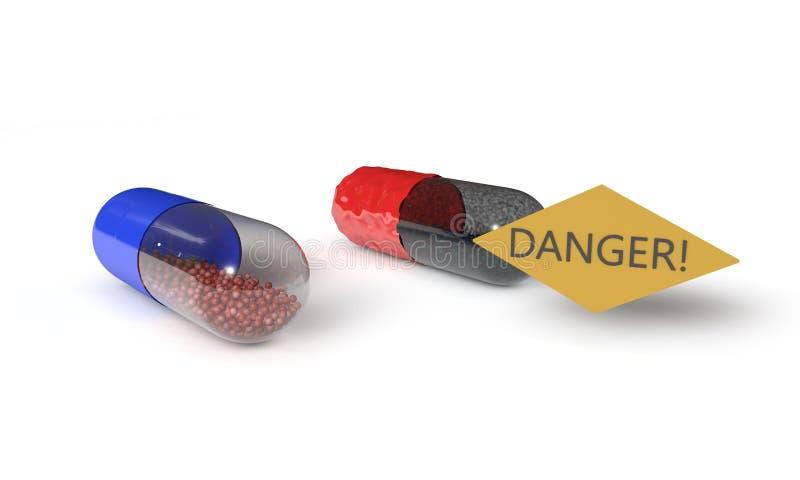 Las píldoras viejas, peligrosas del fondo, 3d rinden stock de ilustración