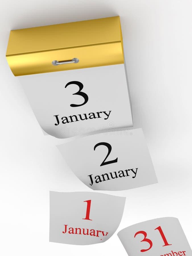 Las paginaciones que caen de rasgan el calendario stock de ilustración