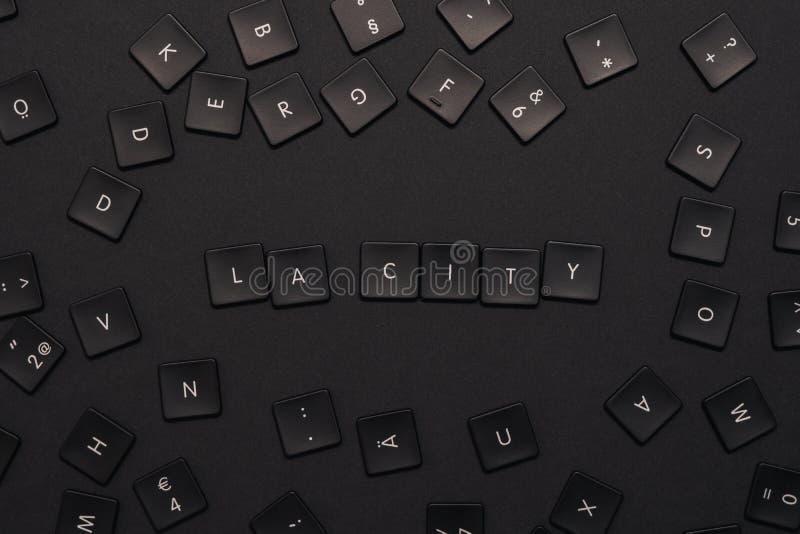 Las palabras 'ciudad del LA 'montada de llaves de teclado negras fotos de archivo libres de regalías