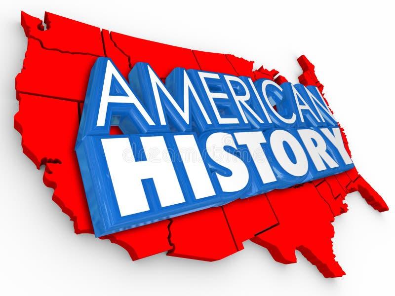 Las palabras americanas los E.E.U.U. de la historia 3d trazan el aprendizaje de Estados Unidos Educait stock de ilustración