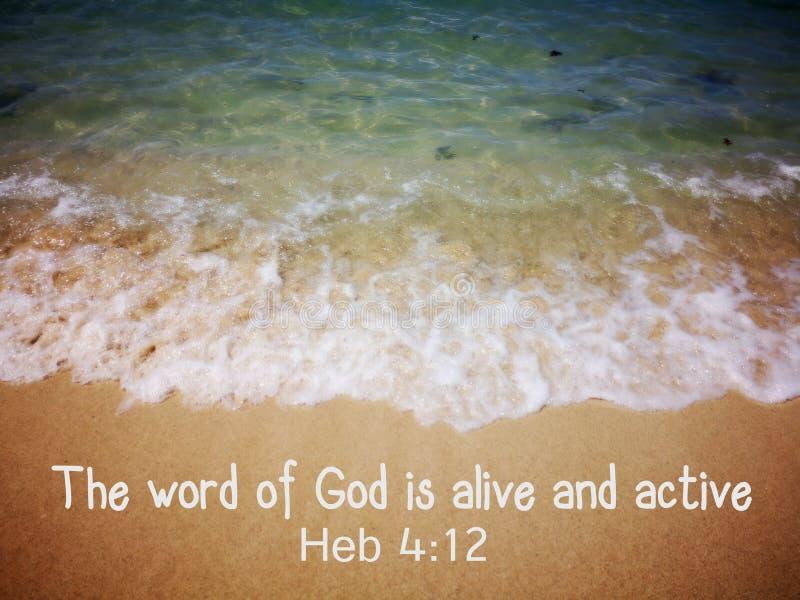 Las palabras de dios con el diseño de la vista al mar del fondo para el cristianismo fotografía de archivo